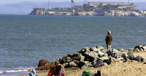 Chrissy- people on beach with alcatraz in background