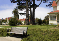 PRESIDEO PARK BENCH WITH HISTORIC BUILDINGS